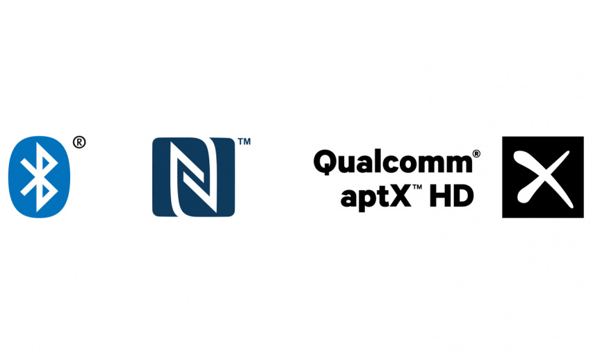 藍牙、NFC™ 和 Qualcomm® aptX™ HD 標誌